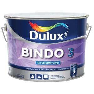 Краска водоэмульсионная BINDO 3 BW глубокомат. для стен и потолков,белая 10л