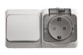 Блок ОП Этюд IP44 бел. (1-кл выкл. евророзетка с защитными шторками)