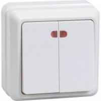 Выключатель 2-кл. ОП ОКТАВА с инд. 10А 250В бел. IP20 ВС20-2-1-ОБ ИЭК