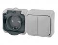 Блок ОП Этюд IP44 серый (2-кл выкл. евророзетка, защитные шторки) ВРА16-242С