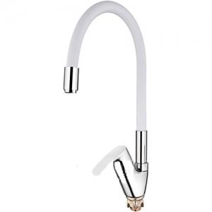 Смеситель для кухни L 4153-3 белый силикон латунь d35