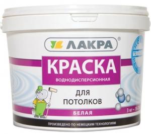 """Краска водоэмульсионная """"ЛАКРА"""" для потолка  1,3кг"""