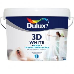 """Краска водоэмульсионная """"Dulux"""" Ослепительно белая 3D для внутренних работ матовая. 5л"""