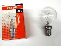 Лампа накаливания Е14 40W шар прозрачный Osram