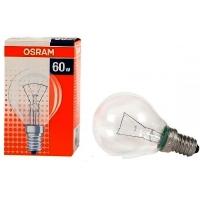Лампа накаливания Е14 60W шар прозрачный Osram