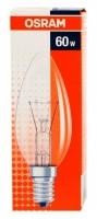 Лампа накаливания Е14 60W свеча прозрачная Osram
