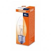 Лампа накаливания Е27 40W свеча прозрачная Osram