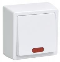 Выключатель 1-кл. ОП ОКТАВА с индикатором 10А 250В бел. IP20 ВС20-1-1-ОБ ИЭК