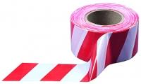 Лента сигнальная, бело-красная, 75мм х 200м