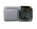 Блок ОП Этюд IP44 серый (1-кл выкл. евророзетка, с защитными шторками) ВРА16-241С