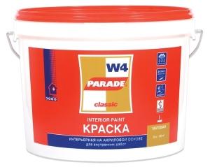 """Краска водоэмульсионная """"PARADE"""" W4 акриловая  для внутренних работ, моющаяся, износостойкая 5л Лакр"""
