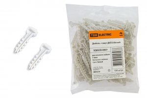 Хомут с дюбелем 5х8мм белый для плоского кабеля (1уп/100шт)